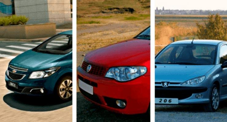 Veja qual carro é mais seguro entre o Fiat Palio, Chevrolet Onix ou Peugeot 206