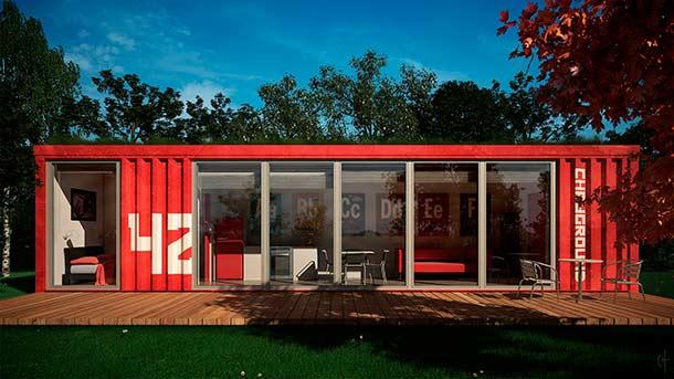 casa feita com container vermelho
