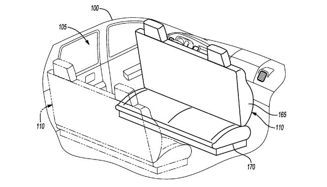 Imagem da patente da Ford com o carro sala-de-estar.