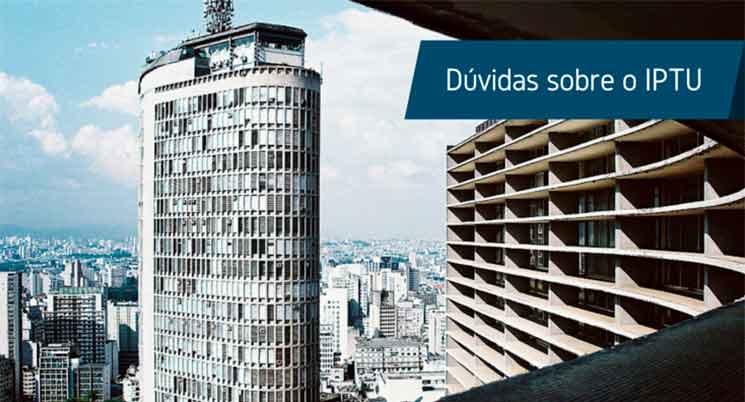 """Imagem de vista da cidade e frase: """"Dúvidas sobre IPTU"""""""