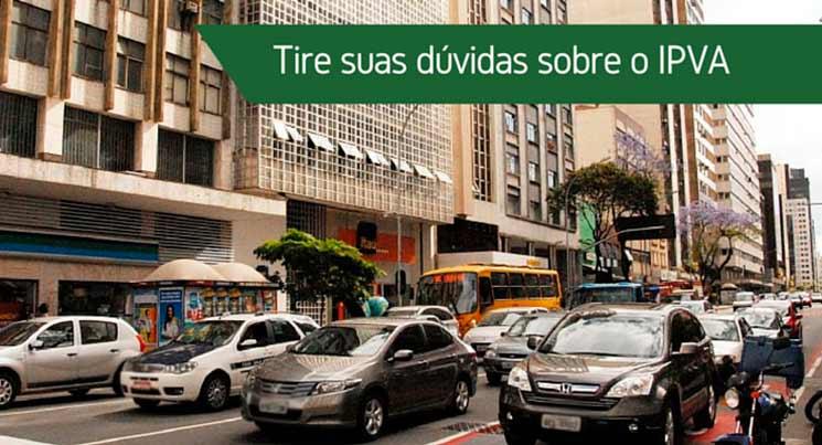"""Imagem de carros nas ruas com a descrição""""Tire suas duvidas sobre IPVA"""""""