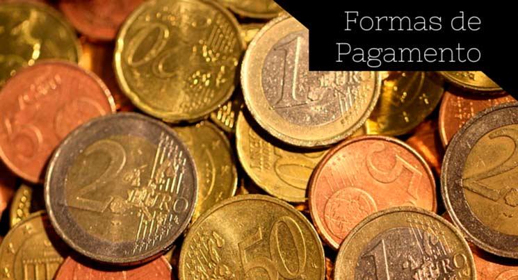 """Imagem com várias moedas com a descrição """"Formas de Pagamento"""""""