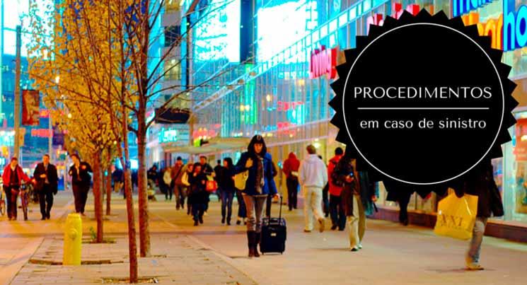 """Imagem de um calçada movimentada com a descrição """"Procedimentos em caso de sinistro"""""""