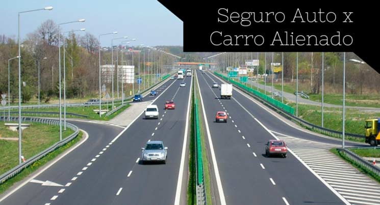 """imagem de estrada com vários carros e a descrião """"Seguro auto x carro alienado"""""""