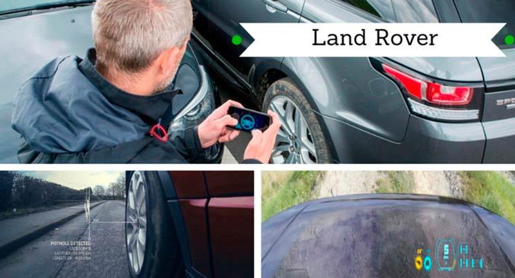 Três imagens da tecnologias da Land Rover. Um dirigindo o carro com o celular, outra um carro vermelho indicando os buracos e a ultima com um carro de capô transparente