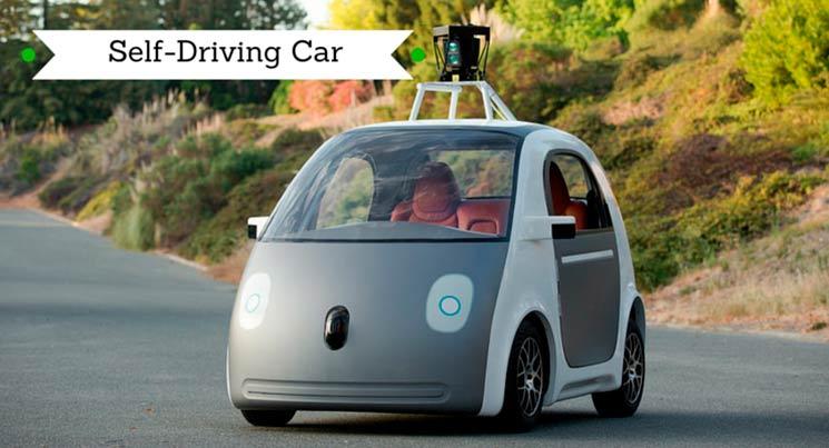 Imagem do carro do Google que anda sozinho. Ele possui dois lugares e nenhum volante ou pedal