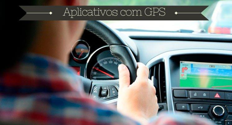 """imagem de pessoa dentro do carro com frase """"aplicativos com GPS"""""""
