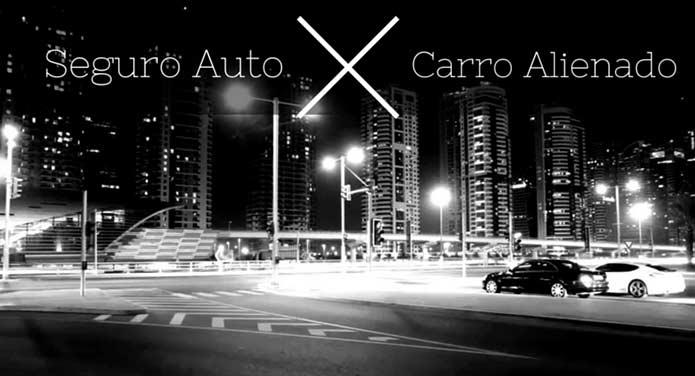 """Imagem preta e branca de dois carros com a descrição """"Seguro Auto x Carros Alienado"""""""