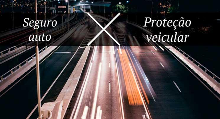 """Imagem de cidade com a legenda """"Seguro auto x Proteção veicular"""""""