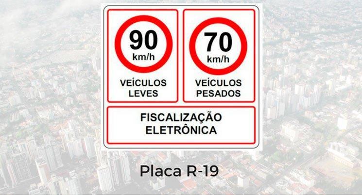 Imagem da placa de limite de velocidade permitida para veículos leves e veículos pesados