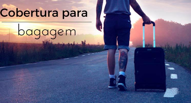 """imagem de um homem na estrada com uma mala e legenda """"cobertura para bagagem"""""""