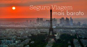 """vista aérea de paris com torre eiffe e frase """"seguro viagem mais barato""""l"""