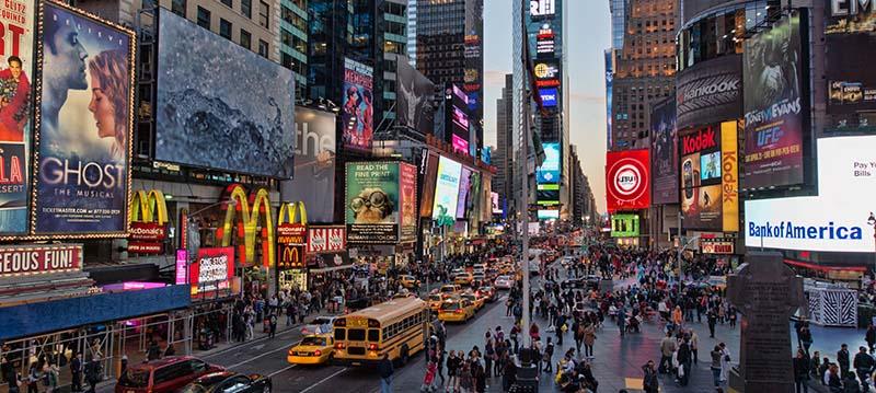 Vista panorâmica da Times Square, em Nova York