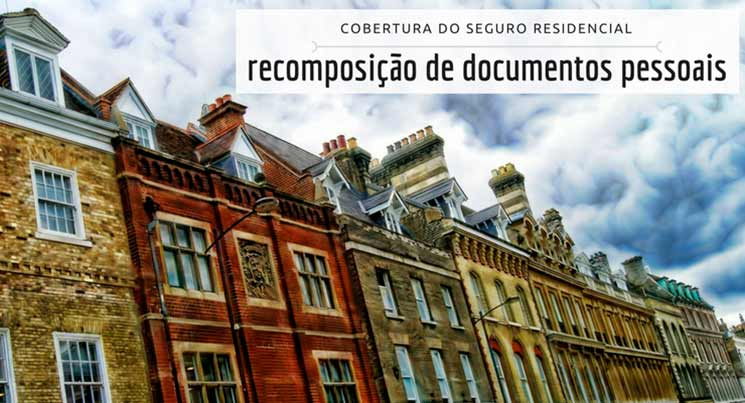 """imagem de prédios residenciais com a descrição """"cobertura do seguro residencial - recomposição de documentos."""