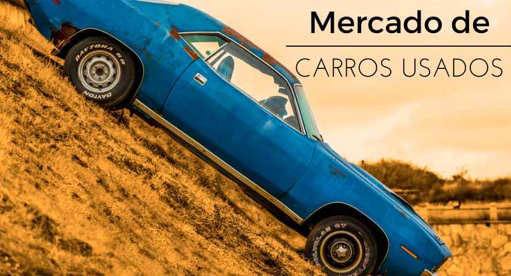 """imagem de um carro usado com a legenda """"mercado de carros usados"""""""
