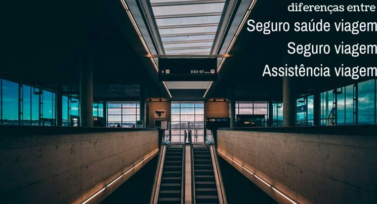 """imagem de um aeroporto com a descrição """"diferenças entre seguro saúde viagem, seguro viagem e assistência viagem"""""""