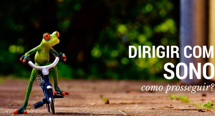 """imagem de um sapo em miniatura em uma bicicleta com a legenda """"dirigir com sono. como prosseguir?"""""""