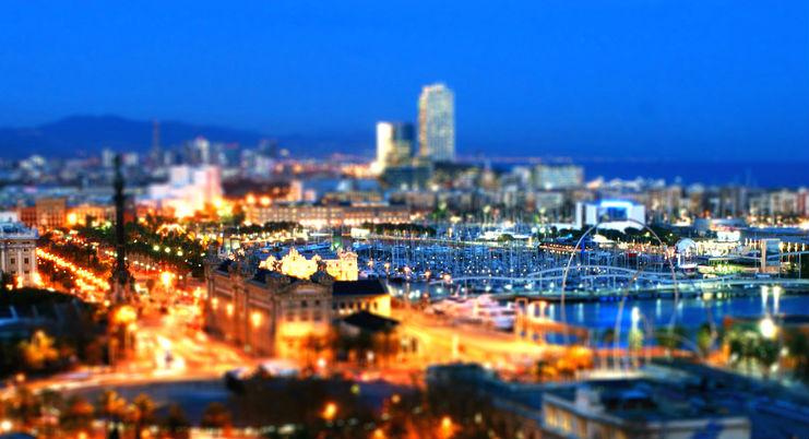 vista aérea da cidade de Barcelona a noite