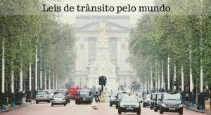 """Imagem de uma rua com arvores e carros com a descrição """"leis de trânsito pelo mundo"""""""