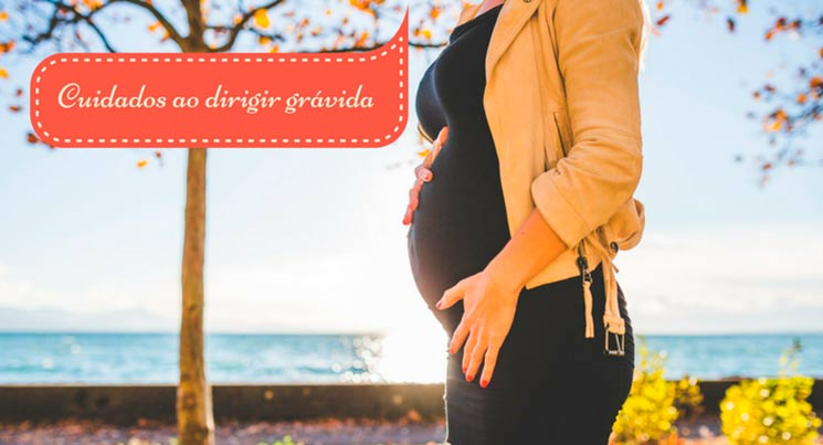 """Imagem de uma mulher grávida com a legenda """"cuidados ao dirigir grávida"""""""