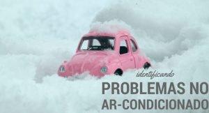 """Imagem de uma miniatura de um carro fusca debaixo da neve com a descrição """"identificando problemas no ar-condicionado"""""""
