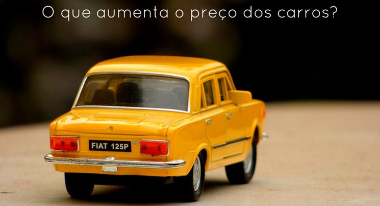 """Imagem de um carro amarelo em miniatura com a descrição """"o que aumenta o preço dos carros?"""""""