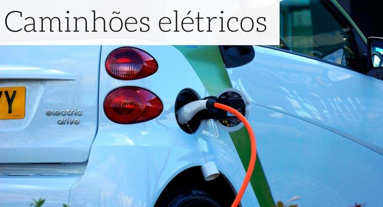 Imagem de um carro elétrico com a descrição: caminhões elétricos