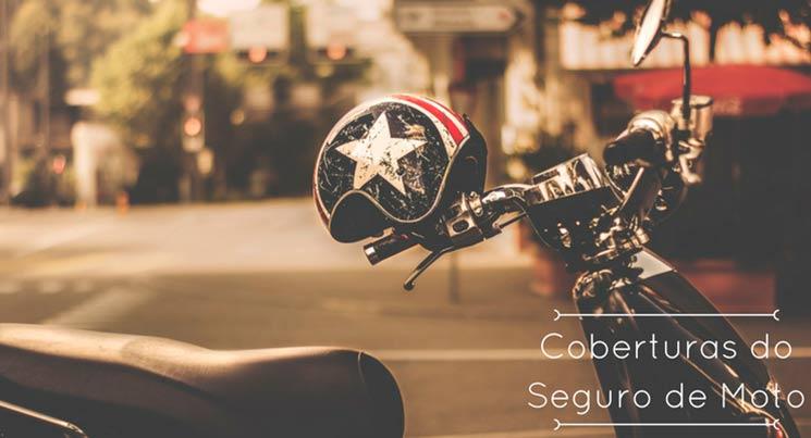 """imagem de moto e capacete com frase """"coberturas do seguro moto"""""""