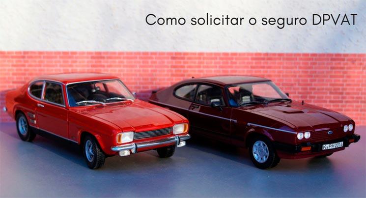imagem de duas miniaturas de carro com a descrição: como solicitar o seguro DPVAT?