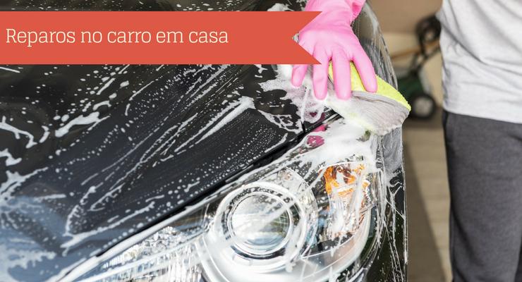 Imagem de uma pessoa lavando o carro com a descrição: reparos no carro