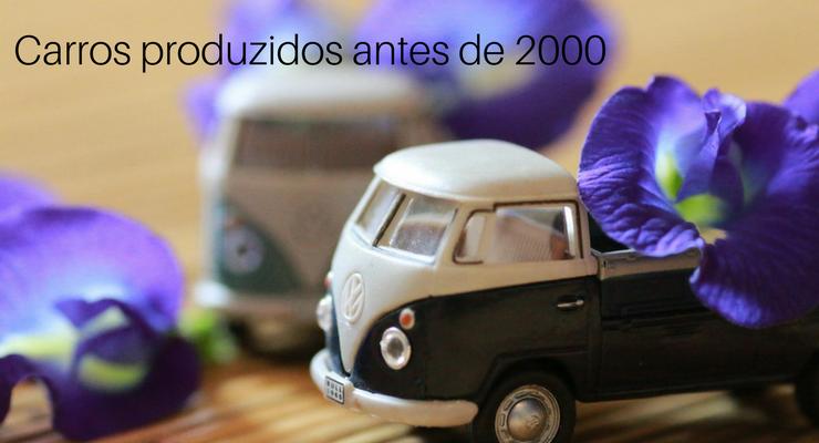 imagem de uma miniatura de caminhonete com a legenda: carro fabricado antes de 2000