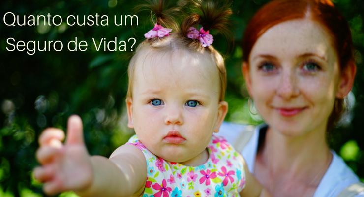Imagem de uma mãe segurando sua filha com a descrição: Quanto custa um seguro de vida?