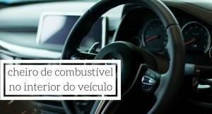 imagem do interior de um carro com a legenda: cheiro de combustível no interior do veículo