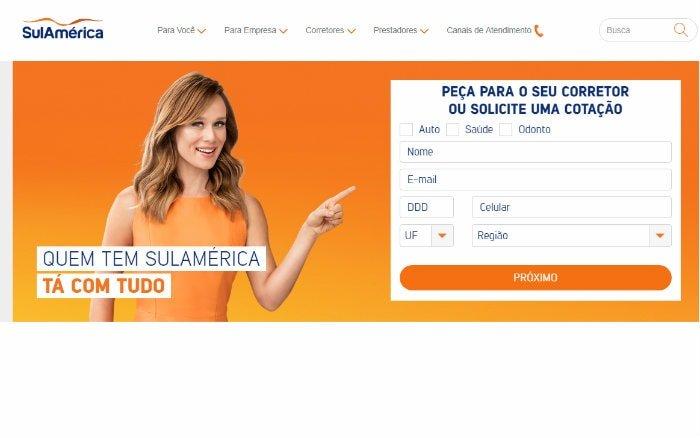 site sulamerica representando os planos sulamerica saúde
