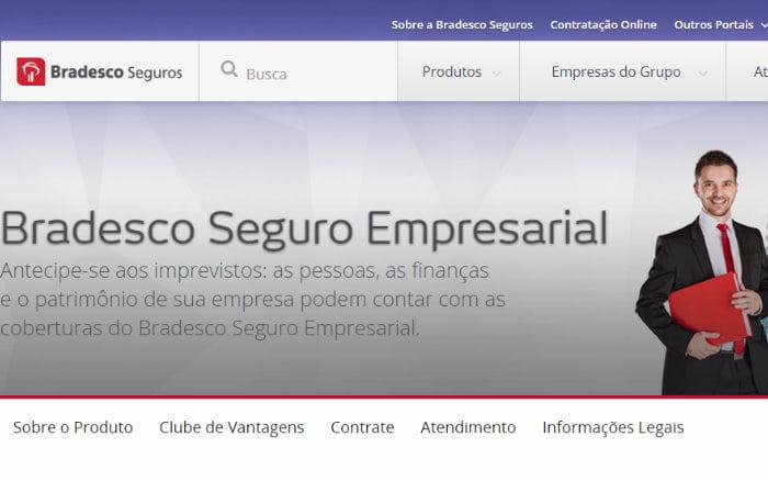 imagem do site empresarial bradesco ilustrando post sobre seguro empresarial bradesco