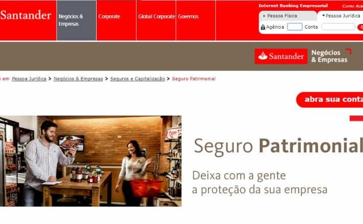 Imagem do site do seguro patrimonial Santander para ilustrar post sobre seguro empresarial Santander