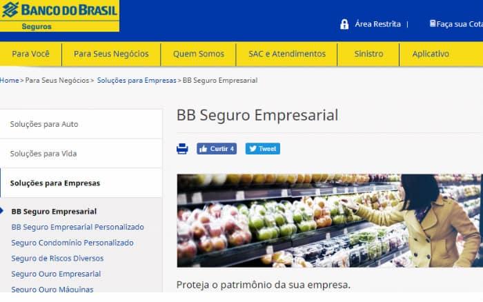 Imagem do site do Banco do Brasil ilustrando post sobre seguro empresarial Banco do Brasil