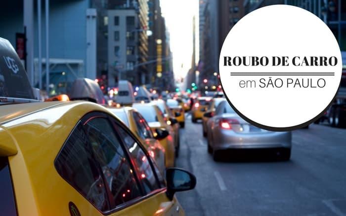 Imagem de uma avenida com diversos carros com a legenda: roubos de carros em São Paulo