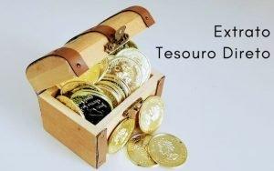 imagem com um mini baú com moedas com a legenda: Extrato Tesouro Direto