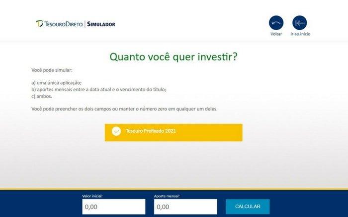 Printa da tela do simulador do tesouro direto com a pergunta: quanto você ver investir?