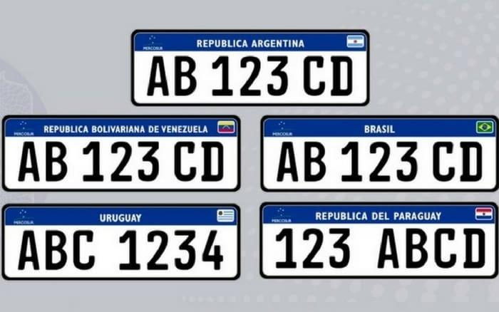 Imagem de diversas placas de carro para ilustrar post sobre padrão placa do Mercosul