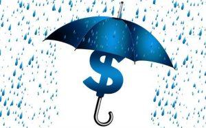 ilustração de cifra e guarda chuva para ilustrar post sobre previdência complementar