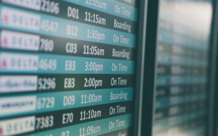 Imagem de painel de embarque para ilustrar post sobre viajar na pascoa