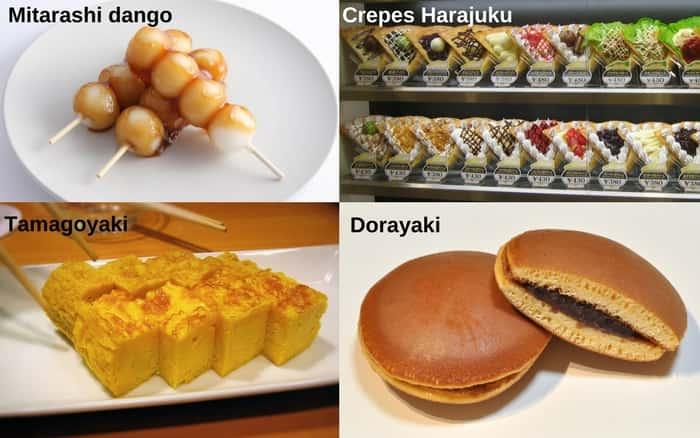 O que você pode comer em Tóquio - imagem com comidas típicas da cidade como Tamagoyaki, ningyo-yaki, dorayaki e Mitarashi dango