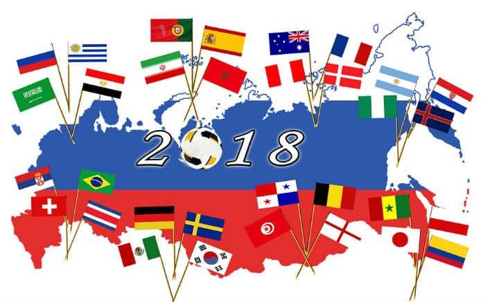 Imagem de mapa da Rússia com bandeiras dos países da Copa ilustrando texto sobre Seguro Viagem Rússia