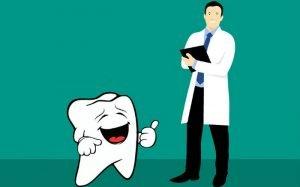 Ilustração de dente e dentista para texto sobre Plano Odontológico Unimed