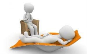 Ilustração de paciente e terapeuta para texto sobre plano de saúde cobre psicólogo