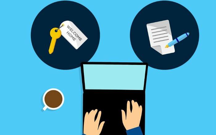 Ilustração de um computador, uma chave e um contrato para texto sobre seguro de aluguel.