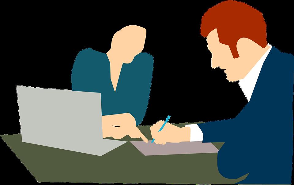 Desenho de pessoas assinando contrato para ilustrar texto sobre seguro garantia ou carta fiança