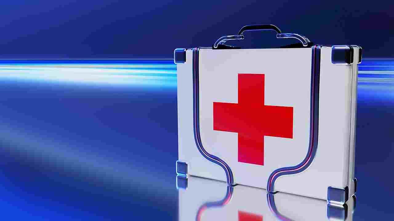 Desenho de maleta médica para ilustrar texto sobre quando ir ao pronto-socorro